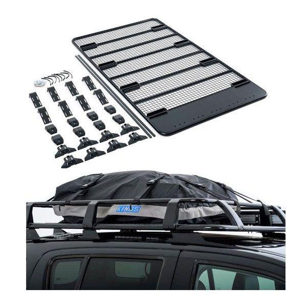 Steel Flat Rack For Gutter Mount Vehicles + Half-Length Premium Waterproof Rooftop Bag