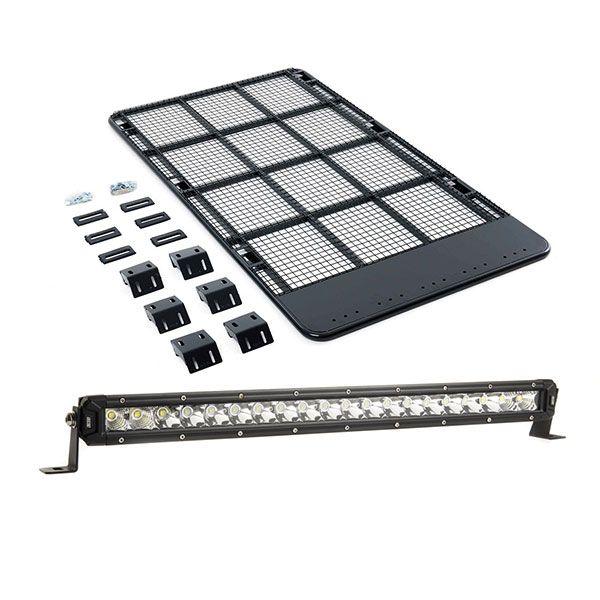 "Kings Steel Flat Roof Rack + 20"" LETHAL MKIII Slim Line LED Light Bar"