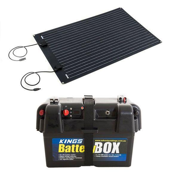 Adventure Kings 110W Semi-Flexible Solar Panel + Battery Box