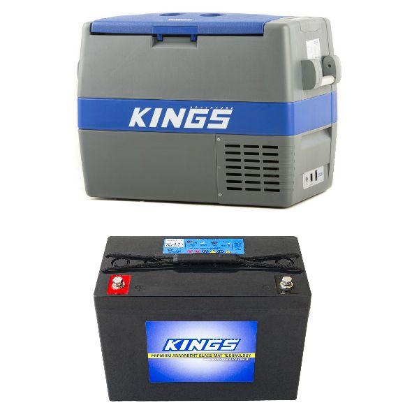 Adventure Kings 60L Camping Fridge/Freezer + AGM Deep Cycle Battery 98AH