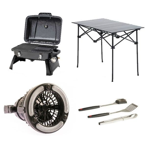 Gasmate Voyager Portable BBQ + Adventure Kings BBQ Tool Set + Aluminium Roll-Up Camping Table + 2in1 LED Light & Fan