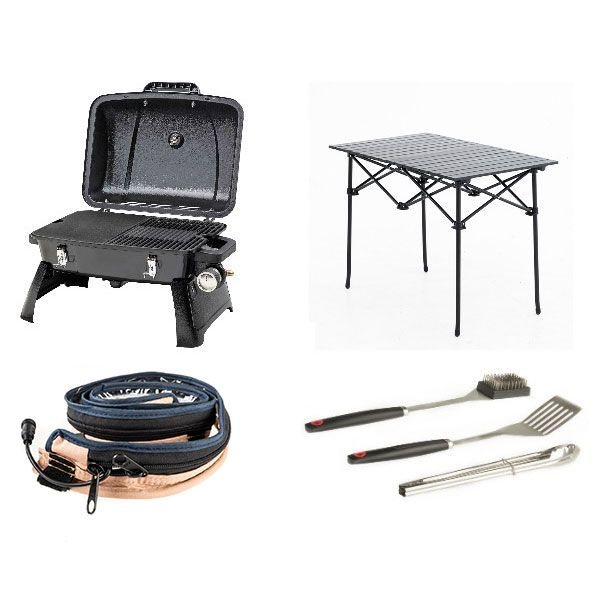 Gasmate Voyager Portable BBQ + Adventure Kings BBQ Tool Set + Aluminium Roll-Up Camping Table + LED Strip Light