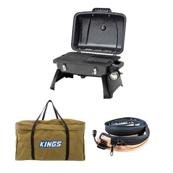 Gasmate Voyager Portable BBQ + Adventure Kings BBQ Canvas Bag + Adventure Kings LED Strip Light