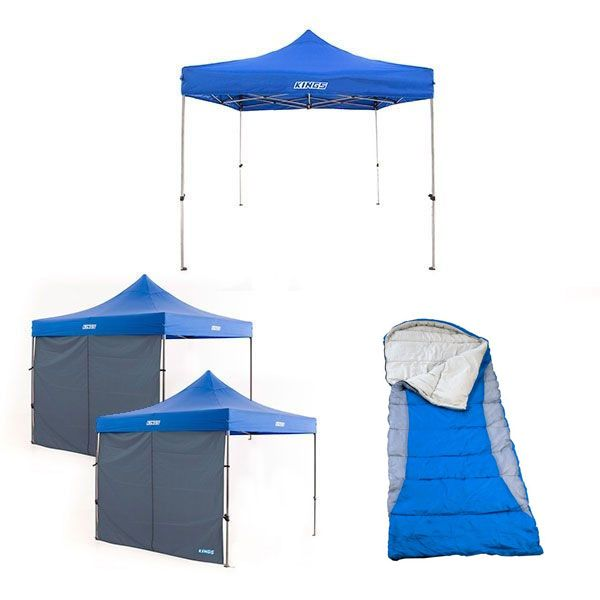 Adventure Kings - Gazebo 3m x 3m + 2x Adventure Kings Gazebo Side Wall + Kings Hooded Sleeping Bag