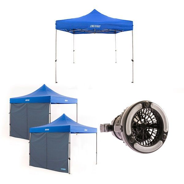 Adventure Kings - Gazebo 3m x 3m + 2x Adventure Kings Gazebo Side Wall + 2in1 LED Light & Fan