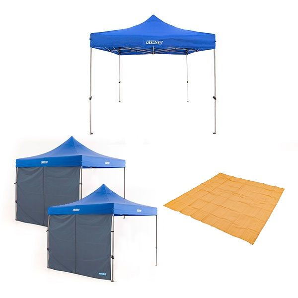 Adventure Kings - Gazebo 3m x 3m + 2x Gazebo Side Wall + Mesh Flooring 3m x 3m