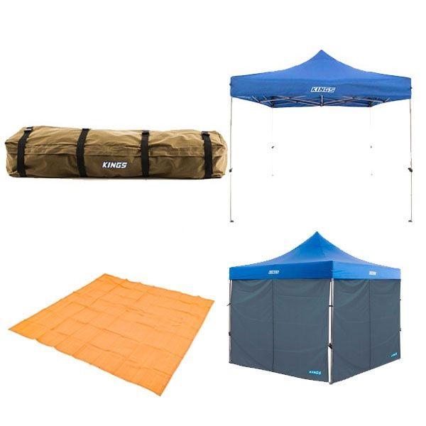 Adventure Kings - Gazebo 3m x 3m + 2x Gazebo Side Wall + Mesh Flooring 3m x 3m + Roof Top Canvas Bag