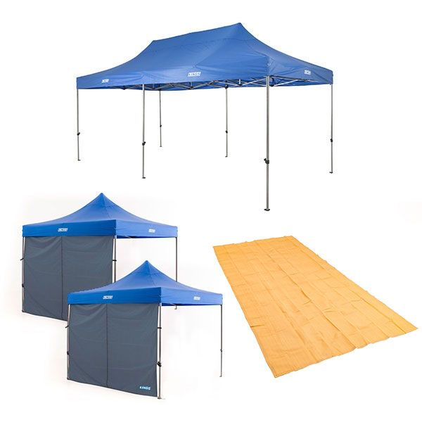 Adventure Kings - Gazebo 6m x 3m + 2x Gazebo Side Wall + Mesh Flooring 6m x 3m