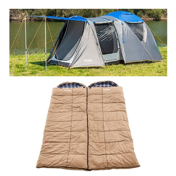Adventure Kings 6 Person Geo Dome Tent + 2x Premium Winter/Summer Sleeping Bag -5°C to +5°C
