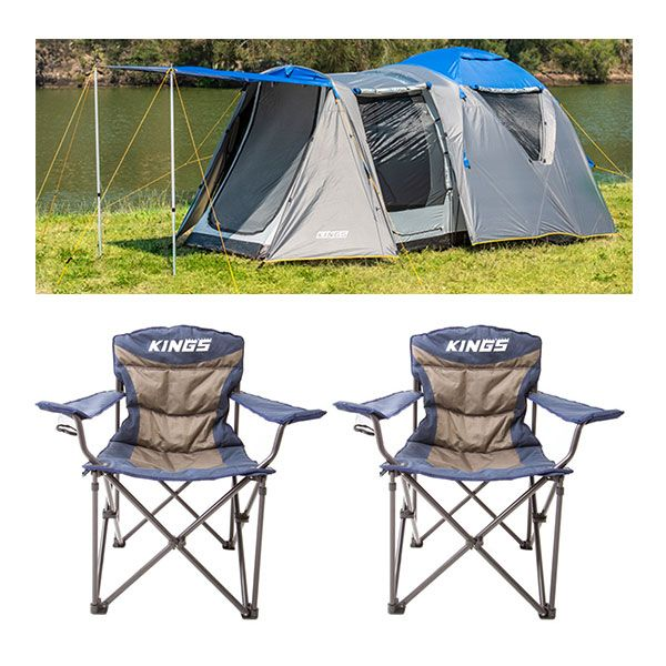 Adventure Kings 6 Person Geo Dome Tent + 2x Adventure Kings Throne Camping Chair