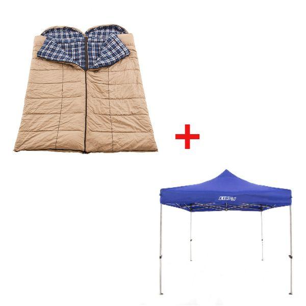 Adventure Kings - Gazebo 3m x 3m + 2x Adventure Kings Premium Winter/Summer Sleeping Bag -5°C to +5°C