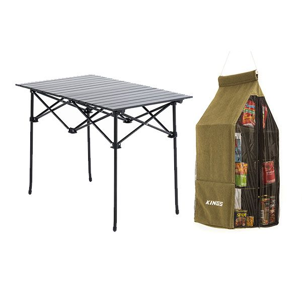 Adventure Kings Aluminium Roll-Up Camping Table + Hanging Pantry