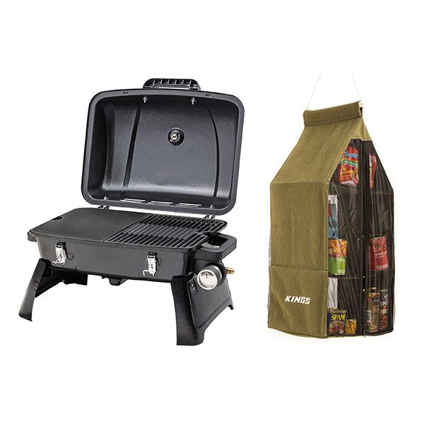 Gasmate Voyager Portable Gas BBQ + Adventure Kings Hanging Pantry