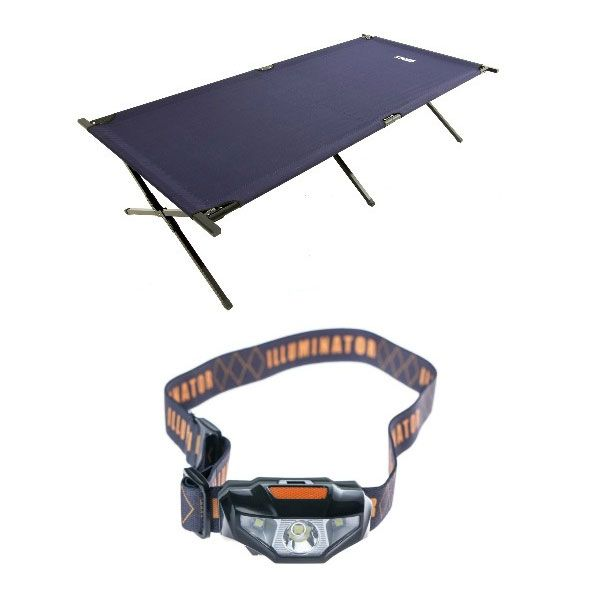 Illuminator LED Head Torch + Adventure Kings Camping Stretcher Bed