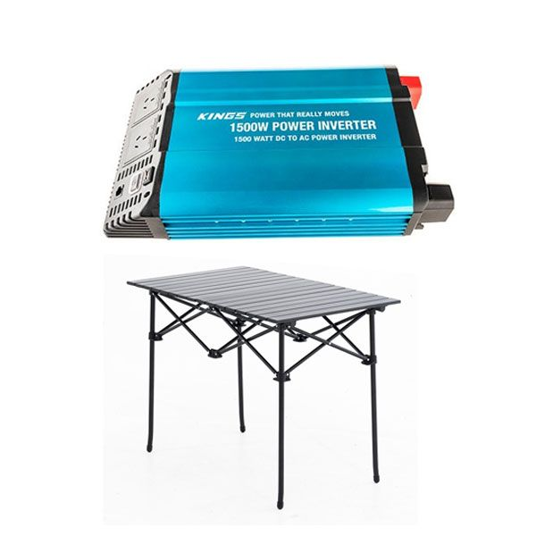 Adventure Kings 1500W Inverter + Adventure Kings Aluminium Roll-Up Camping Table