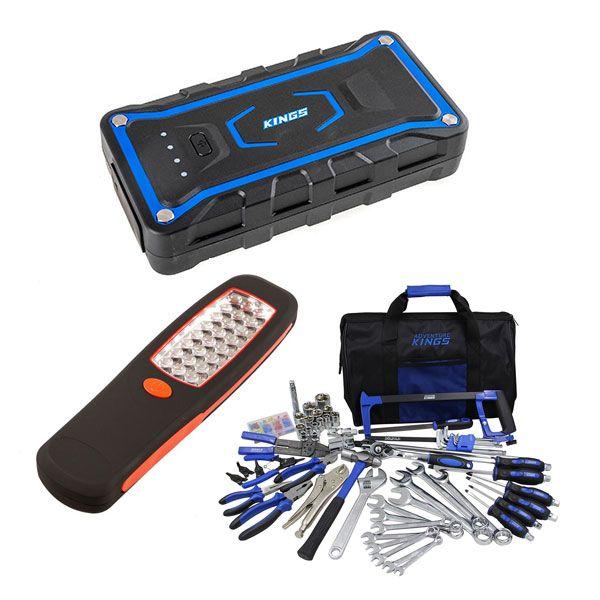 Adventure Kings Jump Starter + Tool Kit - Ultimate Bush Mechanic + Illuminator 24 LED Work Light