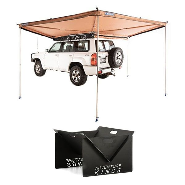 Adventure Kings 270° King Wing Awning + Portable Steel Fire Pit