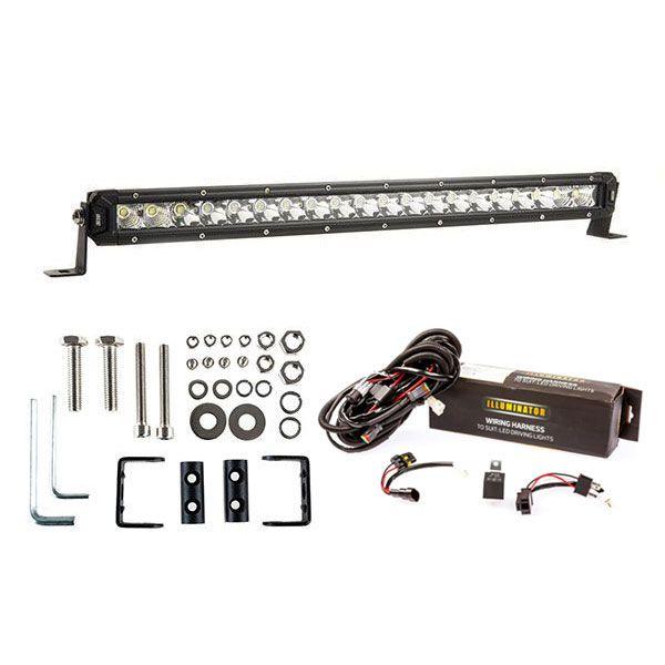 """Kings 20"""" Slim Line LED Light Bar + Bar Wiring Harness + Sliding Brackets for Slim Line Light Bars (Pair)"""