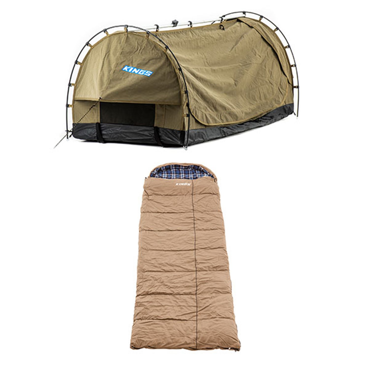 Kings Deluxe Escape Single Swag + Premium Sleeping bag -5°C to 5°C Degrees Celsius Right Zipper
