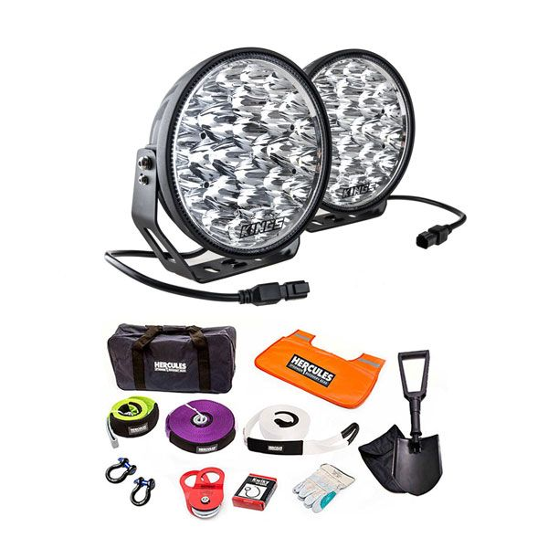 """Kings Domin8r Xtreme 9"""" LED Driving Lights (Pair) + Hercules Complete Recovery Kit"""