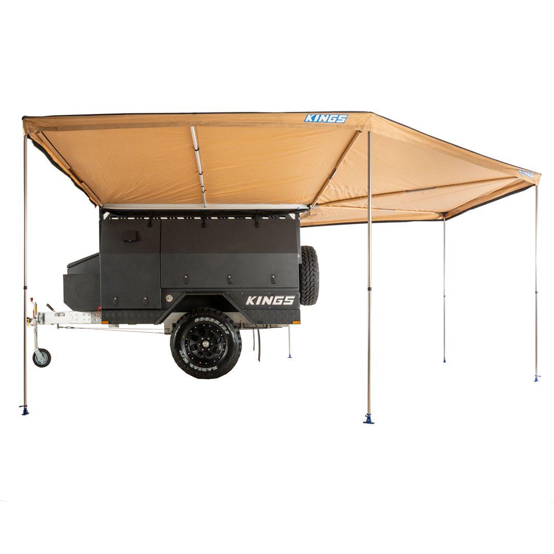 King Wing Deluxe 270° Wrap-Around Awning   Massive 14sqm Shelter   Easy 2min Setup   Integrated Pole System   UPF50+ 170GSM Waterproof Material