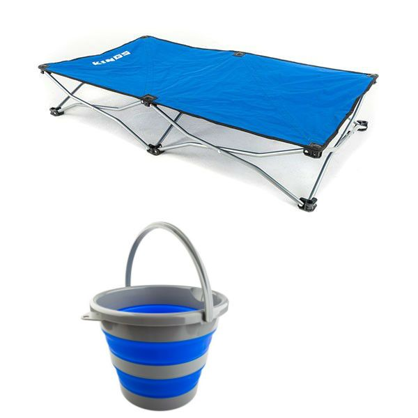Kings Folding Pet Bed + Collapsible 10L Bucket