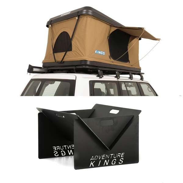 Kings Kwiky MKII Hard Shell Rooftop Tent + Kings Portable Steel Fire Pit