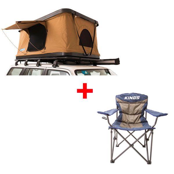 Adventure Kings 'Kwiky' Pop Up Roof Top Tent + Adventure Kings Throne Camping Chair
