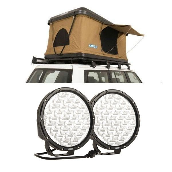 "Kings Kwiky MKII Hard Shell Rooftop Tent + 9"" Slim Line LED Driving Lights"