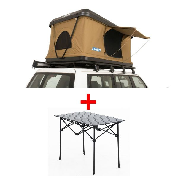Adventure Kings 'Kwiky' Pop Up Roof Top Tent + Aluminium Roll-Up Camping Table