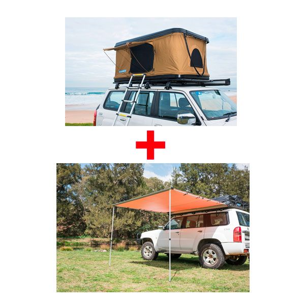 Adventure Kings 'Kwiky' Pop Up Roof Top Tent + Awning 2.5x2.5m