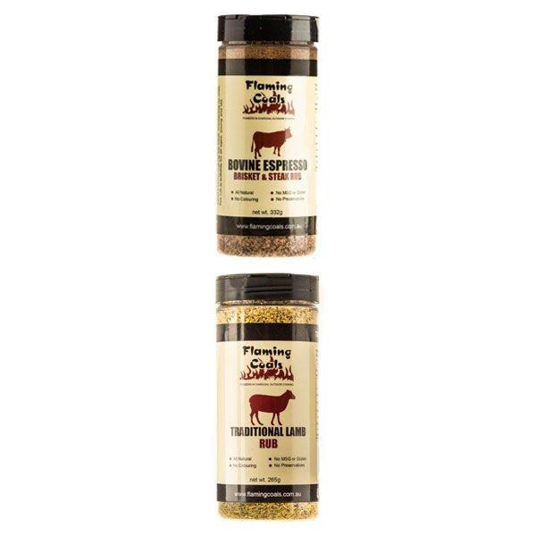 Flaming Coals Traditional Lamb Rub + Flaming Coals Bovine Espresso Brisket & Steak Rub