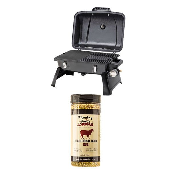 Gasmate Voyager Portable BBQ + Flaming Coals Traditional Lamb Rub