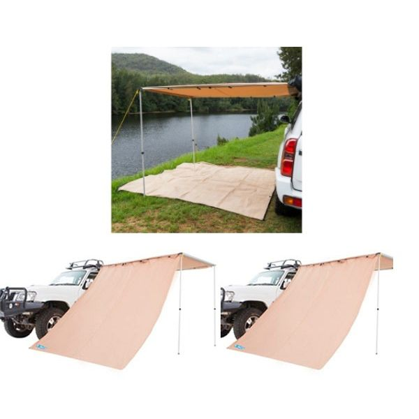 2 x 3m 2 in 1 Awning + Strip Light + 2x Adventure Kings Awning Side Wall