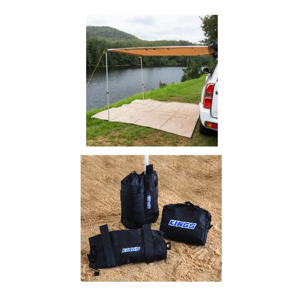 2 x 3m 2 in 1 Awning + Strip Light + Adventure Kings Sand Bags (pair)