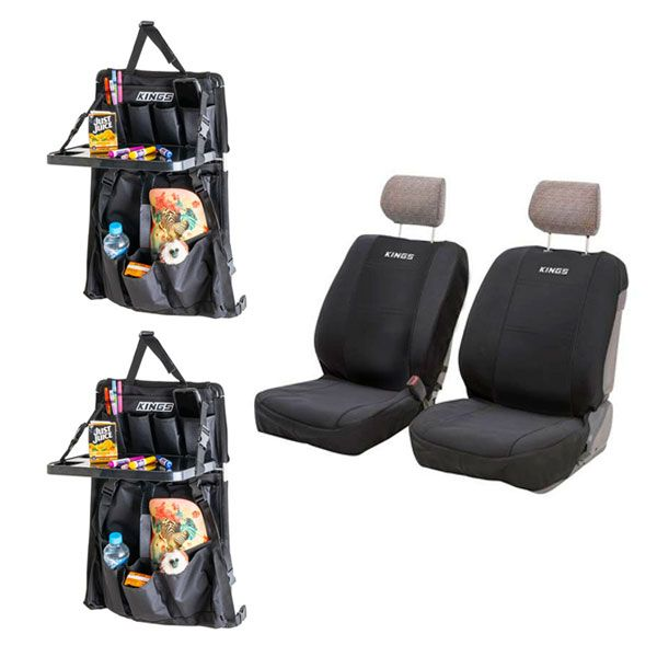 Adventure Kings Neoprene Seat Covers + 2x Premium Car Seat Organiser with Folding Table