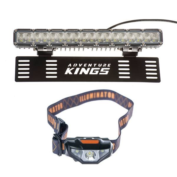 "15"" Numberplate LED Light Bar + Illuminator LED Head Torch"