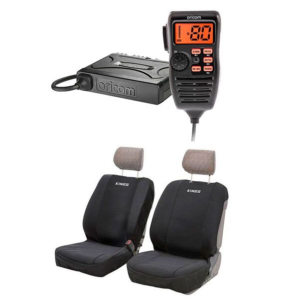 Oricom UHF380PK In-Car 5W CB Radio + Adventure Kings Neoprene Front Seat Covers