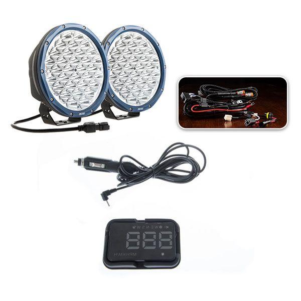 "Essential 9"" OSRAM LED Domin8rX Driving Light Pack + Adventure Kings Heads Up Display (HUD)"