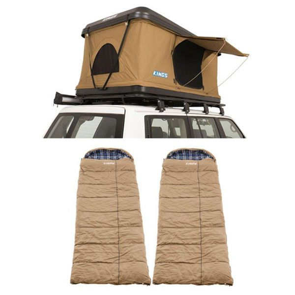 Kings Kwiky MKII Hard Shell Rooftop Tent + 2x Adventure Kings Premium Winter/Summer Sleeping Bag -5°C to +5°C - Left and Right Zipper