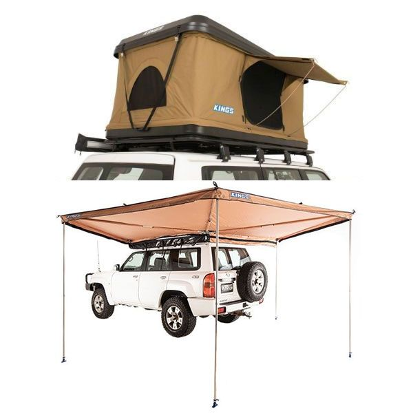 Adventure Kings 'Kwiky' Pop Up Roof Top Tent + 270° King Wing Awning