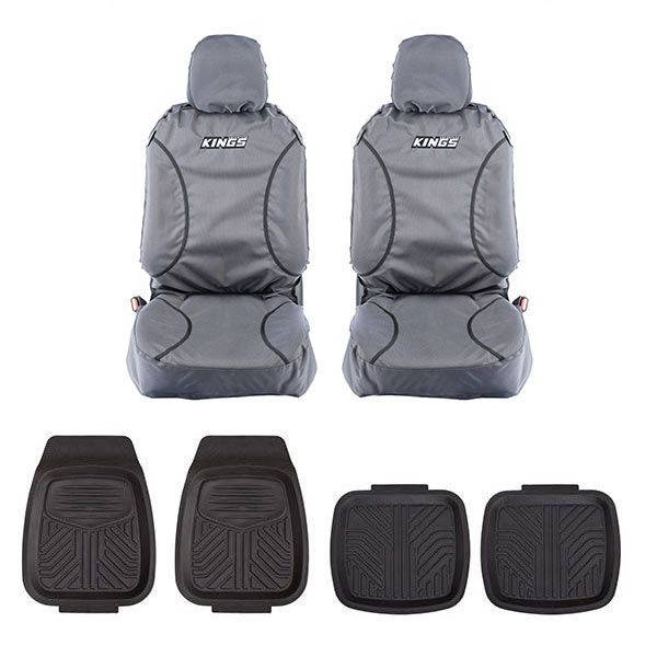 Kings Universal Premium Canvas Seat Covers (Pair) + Deep Dish Floor Mat Set of 4