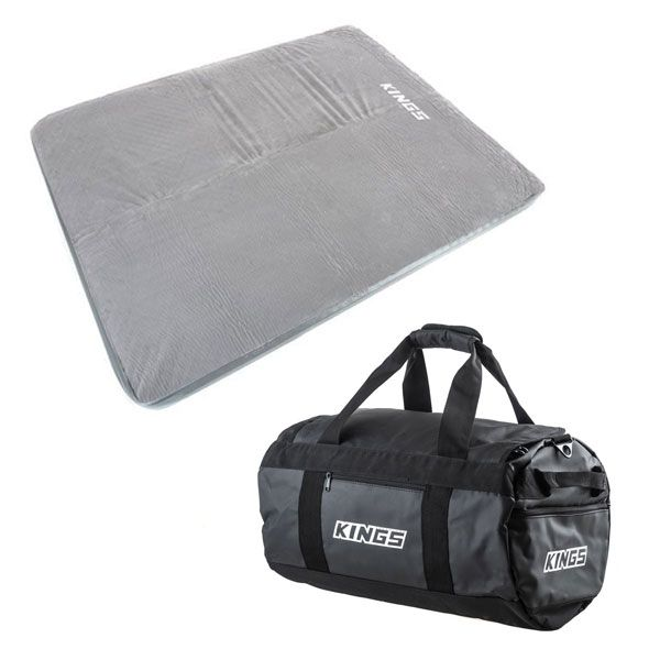 Self Inflating 100mm Foam Mattress - Queen + 40L Large PVC Duffle Bag