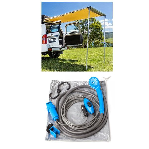 Adventure Kings Rear Awning 1.4 x 2m + Portable Shower Kit