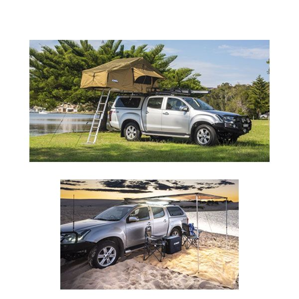 Adventure Kings Roof Top Tent + 2.5 x 2.5m 2 in 1 Awning + Strip Light