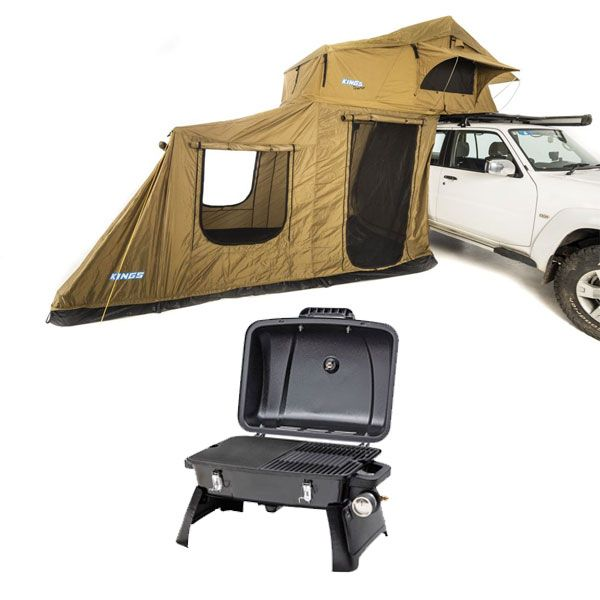 Adventure Kings Roof Top Tent + 6-man Annex + Gasmate Voyager Portable BBQ