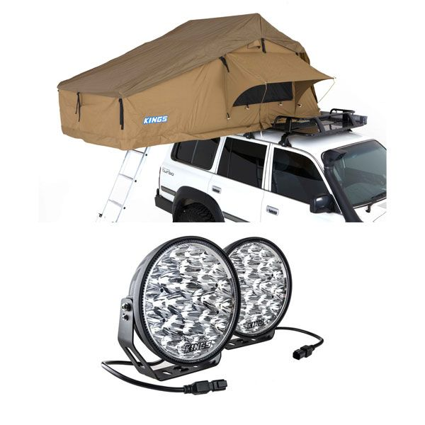 "Kings Domin8r Xtreme 9"" LED Driving Lights (Pair) + Adventure Kings Roof Top Tent"