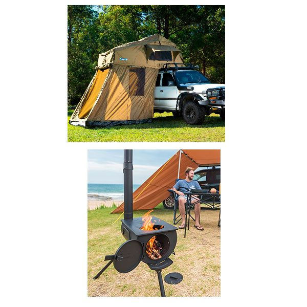 Adventure Kings Roof Top Tent + 4-man Annex + Camp Oven/Stove