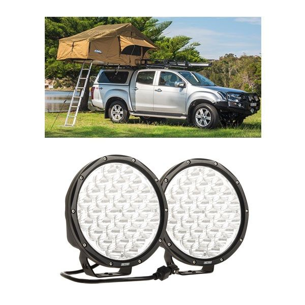 "Adventure Kings Roof Top Tent + 9"" Slim Line LED Driving Lights"