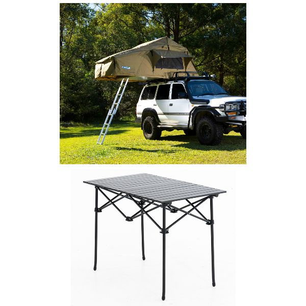 Adventure Kings Roof Top Tent + Aluminium Roll-Up Camping Table